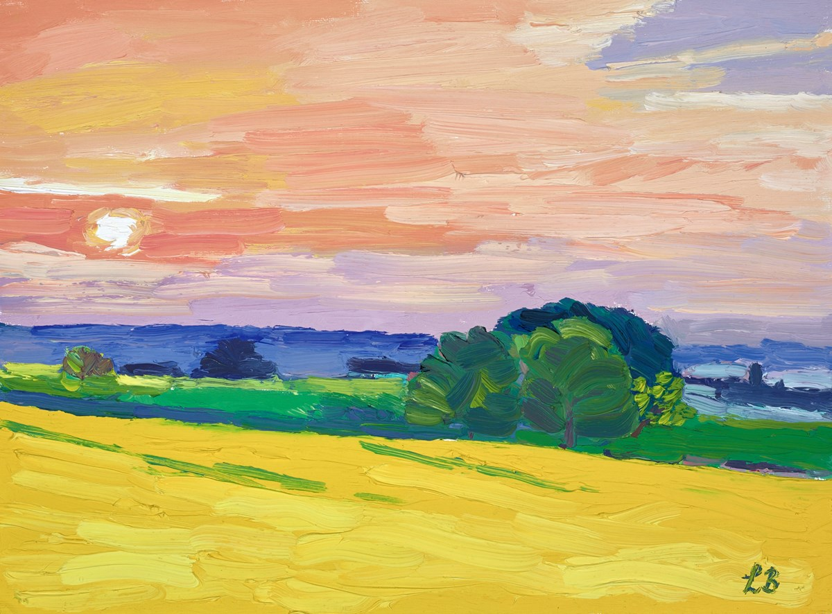 Yellow Fields by leila barton -  sized 16x12 inches. Available from Whitewall Galleries
